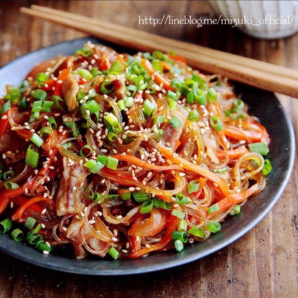 フライパンで簡単!残り野菜の甘辛チャプチェ