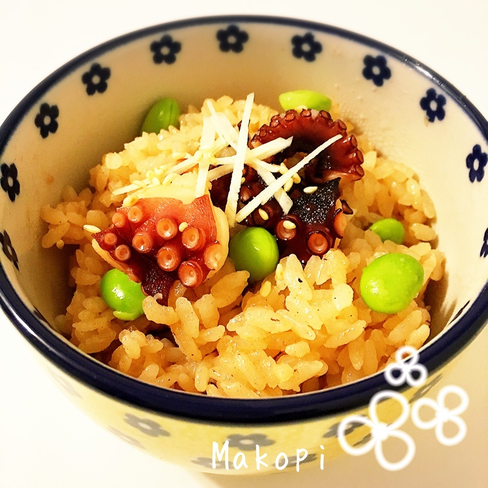 5.枝豆としょうがのだし炊きたこ飯