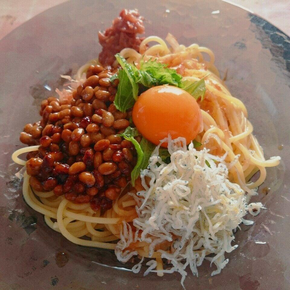 3. 卵黄と納豆の冷製パスタ