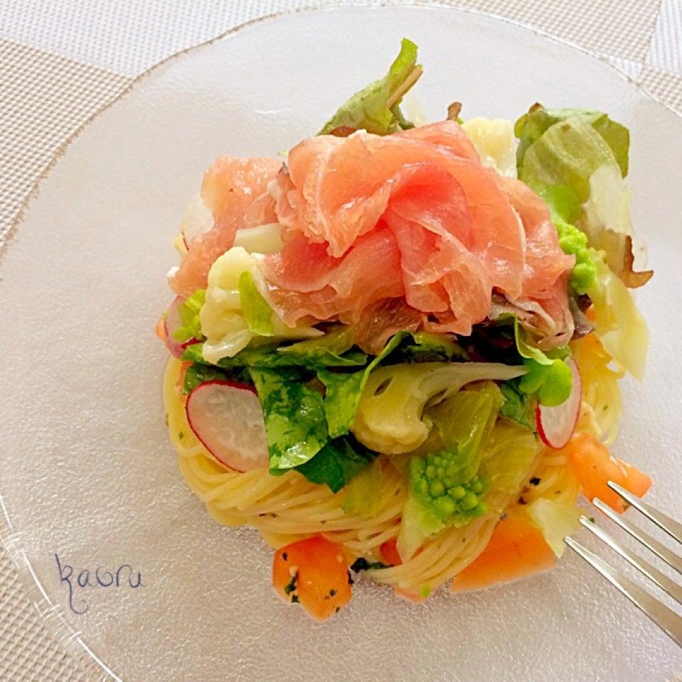 生ハムの冷製サラダパスタ