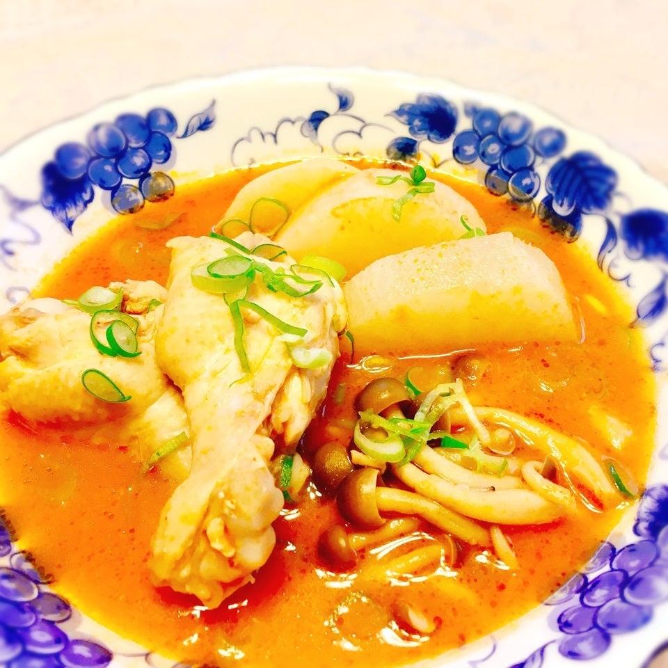 鶏手羽の酒粕トマトスープ
