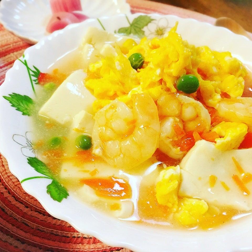 海老と豆腐と入り卵のあんかけ
