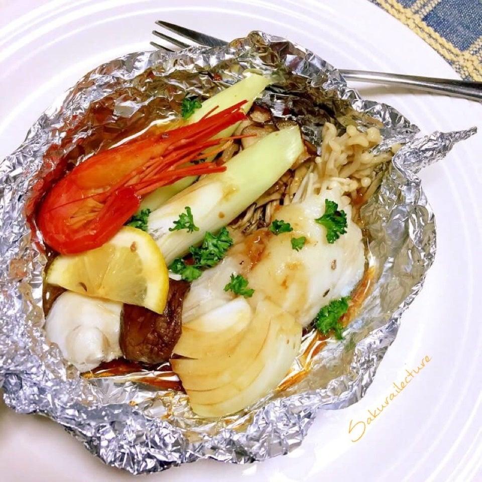 白身魚と海老の醤油ホイル焼き