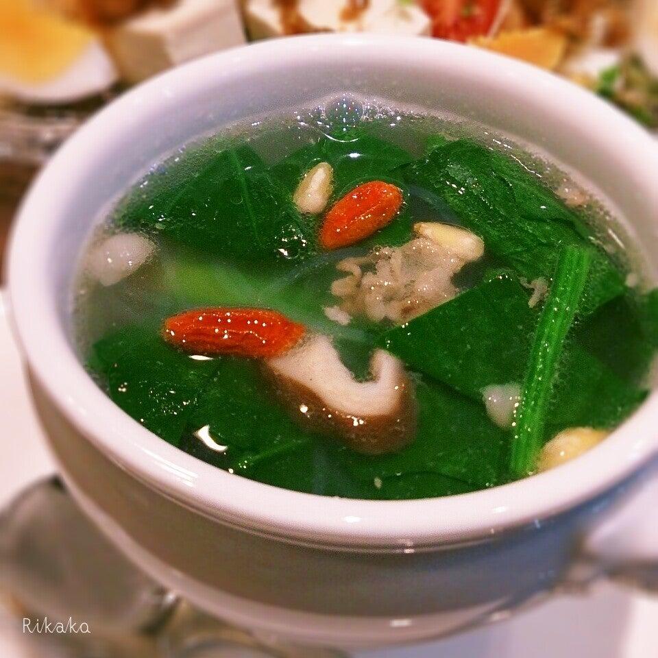 豚肉とほうれん草の中華スープ