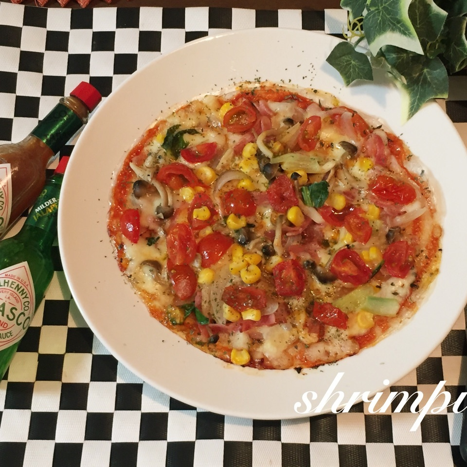ライスペーパーで簡単ピザ